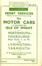Isle of Wight Ferry Timetable British Railways Southern 1959
