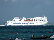 Mont St Michel IMO 9238337 35586gt Built 2002 Passenger/Ro Ro Cargo Ship Flag France passing Seaview Isle of Wight