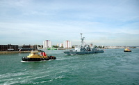 FNS Latouche Treville assisted by Tugs SD Bustler and SD Powerful