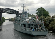 HMS Ledbury departing Latchford Warrington