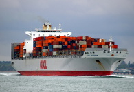 OOCL Rotterdam  IMO 9251999 89097gt Built 2004 Container Ship Flag Hong Kong passing Calshot