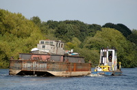Tug Clifton and Barge Halton passing Thelwall Ferry Manchester Ship Canal