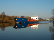 General Cargo Ship Linnau passing Thelwall Ferry on the Manchester Ship Canal 2nd March 2011