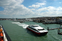 Red Jet 4 departing Cowes