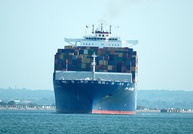 CMA CGM Columba outbound on the Solent