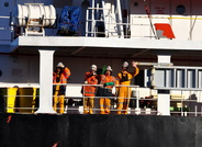 Crew members of Tanker Stolt Skua