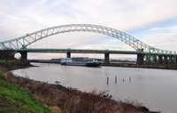 Verity passing the Siver Jubilee Bridge Runcorn 12th January 2013