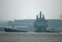 RFA Fort George assisted out of Langton 16th January 2013