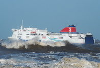 Stena Lagan in very windy conditions