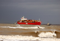 OOCL Belgium arriving Liverpool on a stormy day