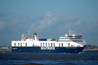 Seatruck Progress arriving Liverpool 7th February 2014