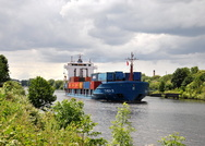 Thea II passing Thelwall Ferry 10th June 2014