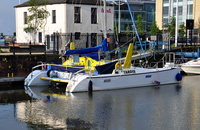 Catamaran Tardis at Hull Marina