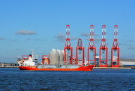 Sigas Silvia passing the new river berths at Liverpool